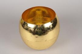 A001E6 Vase boule en métal or D29cm H26cm