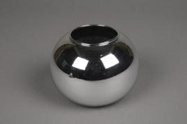 A047K9 Vase boule en verre argent D12cm H10cm