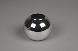 A045K9 Vase boule en verre argent D6cm H5.5cm