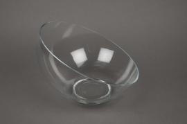 A016M1 Vase boule en verre biseauté D25cm H18cm