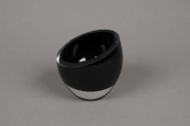 B340W3 Black glass bowl D10.5cm H9cm