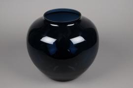 B422W3 Vase boule en verre bleu D31cm H31cm