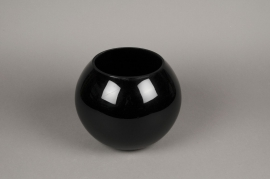 A104PS Black glass bowl vase D25cm H20cm