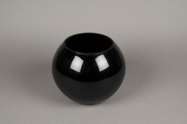 A104PS Vase boule en verre noir D25cm H20cm