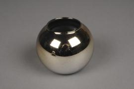 A050K9 Vase boule en verre or D12cm H10cm