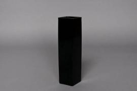 Vase carré en verre noir 5x5cm H20cm