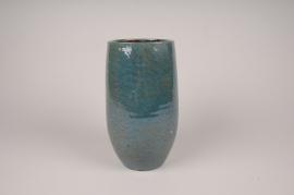 Vase céramique bleu D14cm H25cm