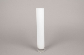 A098PS Vase cylindre en verre blanc D5cm H25cm
