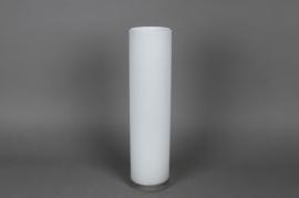 Glass cylindric vase white D10 H40cm
