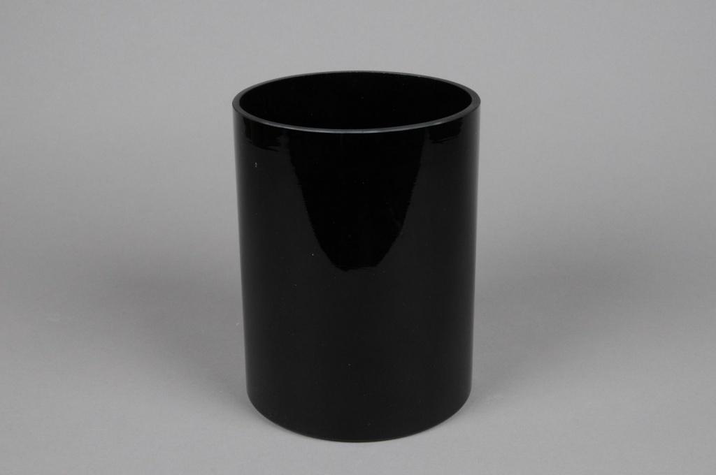 A092PS Vase cylindrique en verre noir D15cm H20cm