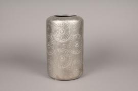 A125VO Vase en céramique argent D18cm H30cm