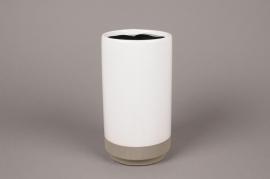 B302WV Vase en céramique blanc D12cm H33cm