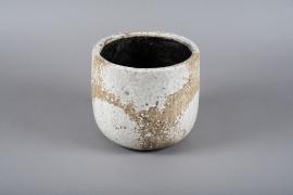 Vase en céramique blanc D21.5cm H20cm
