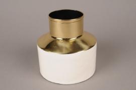 A010KU Vase en métal blanc D14cm H14cm