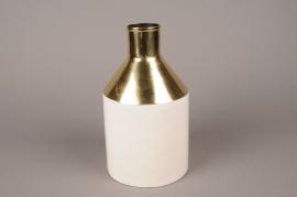 A011KU Vase en métal blanc D14cm H25cm
