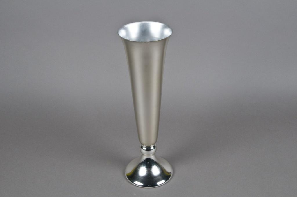 Vase en métal évasé argent D13cm H30cm