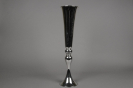 A042Y9 Vase en métal sur pied argent D12cm H57cm