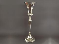 A047Y9 Vase en métal sur pied argent D25cm H82cm