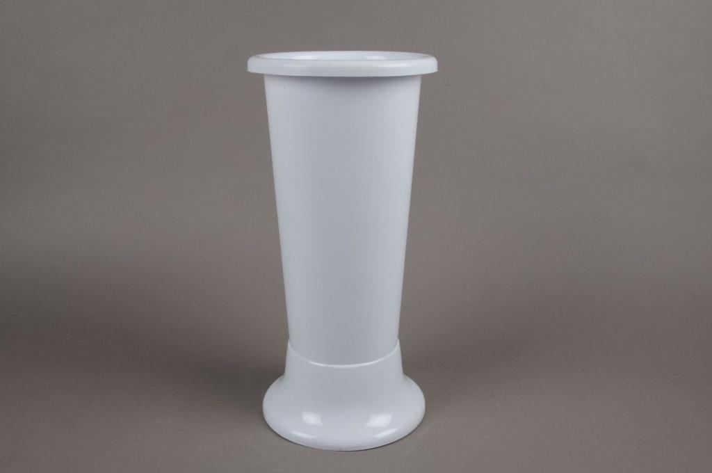 A060T7 Vase en plastique blanc D14cm H35cm