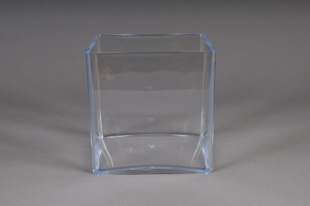 vase en plexi cristal cube transparent 15x15 h15cm. Black Bedroom Furniture Sets. Home Design Ideas