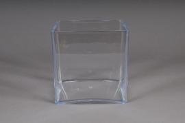 Vase en plexi cristal cube transparent 15x15 H15cm