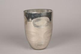 A004C9 Vase en verre argent D16cm H21cm