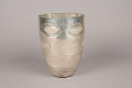 A002C9 Vase en verre argent D18cm H25cm