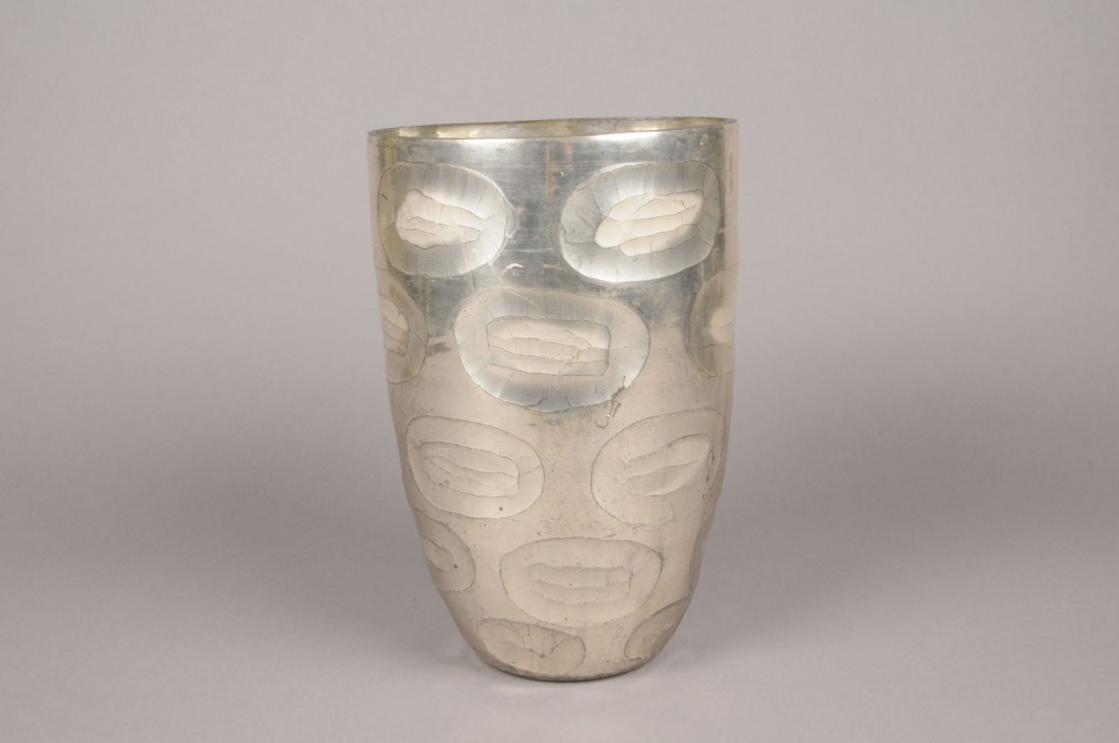 A000C9 Vase en verre argent D20cm H30cm