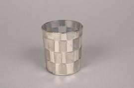 A008C9 Vase en verre argent D6cm H6cm