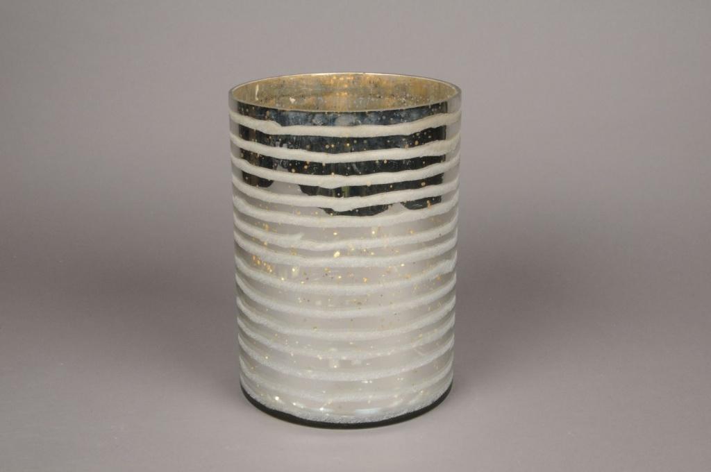 A002I5 Vase en verre argent or D17.5cm H25cm