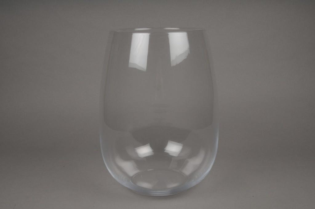 A073I0 Vase en verre arrondi D20cm H40cm