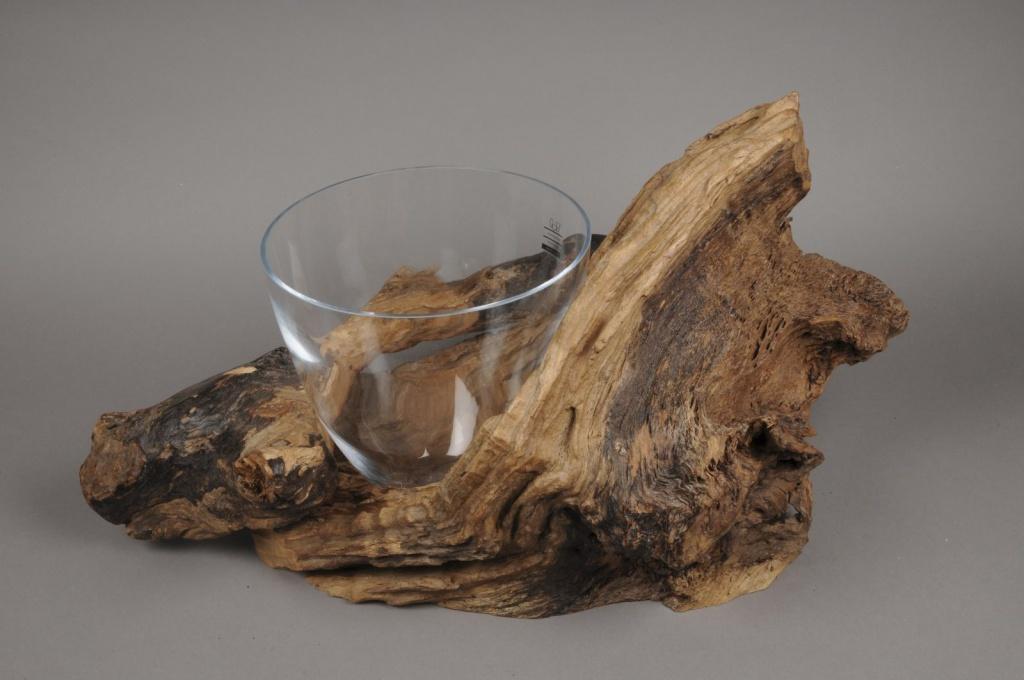 A423UO Vase en verre avec support teck 33x65cm H34cm