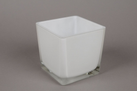 A030I0 Vase en verre blanc 14x14cm H14cm