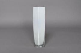 Vase en verre blanc 5x5x25cm