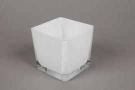 A027I0 Vase en verre blanc 8x8cm H8cm