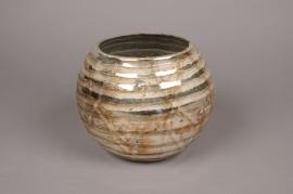 A007I5 Vase en verre boule argent or D26cm H23cm