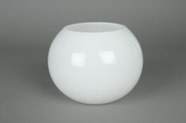Glass ball vase white D14,5 H12,5cm