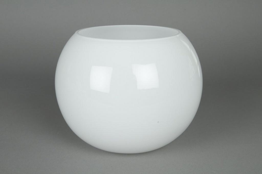 Vase en verre boule blanc D20 H15,5cm