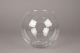 B408W3 Vase glass sphere D20cm H21cm