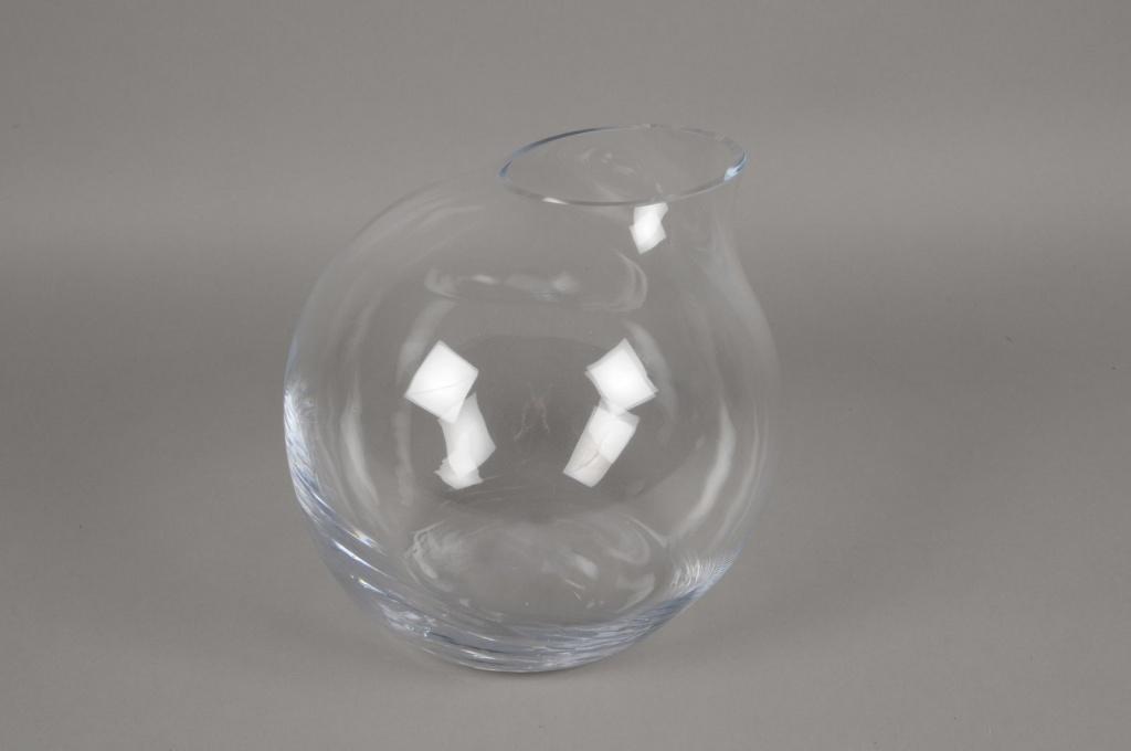 A205IH Vase en verre boule déco D29cm H28cm