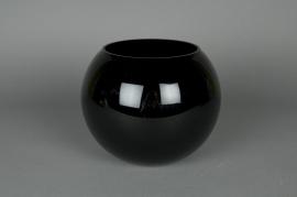 Glass ball vase black D14,5 H12,5cm