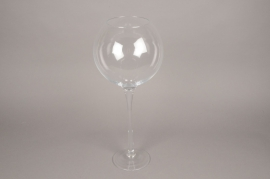 B433W3 Vase en verre boule sur pied D19cm H50cm