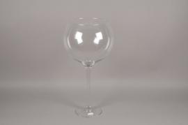 A105PQ Glass bowl stemmed vase D35cm H71cm