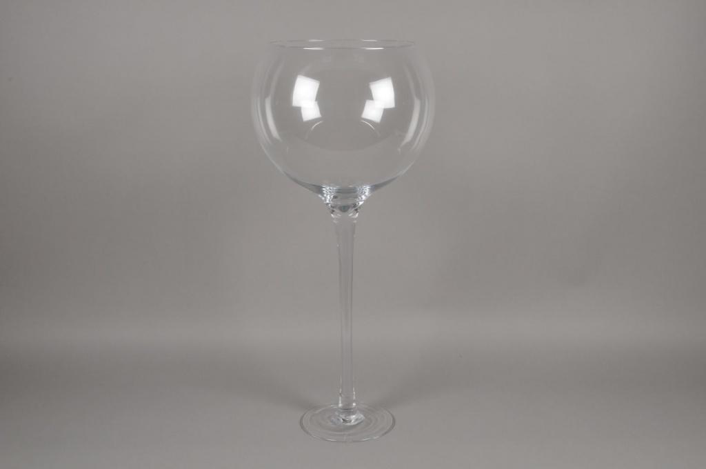 A104PQ Vase en verre boule sur pied D35cm H81cm