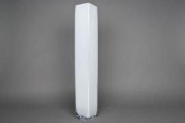 Vase en verre carré haut blanc 10x10 H70cm