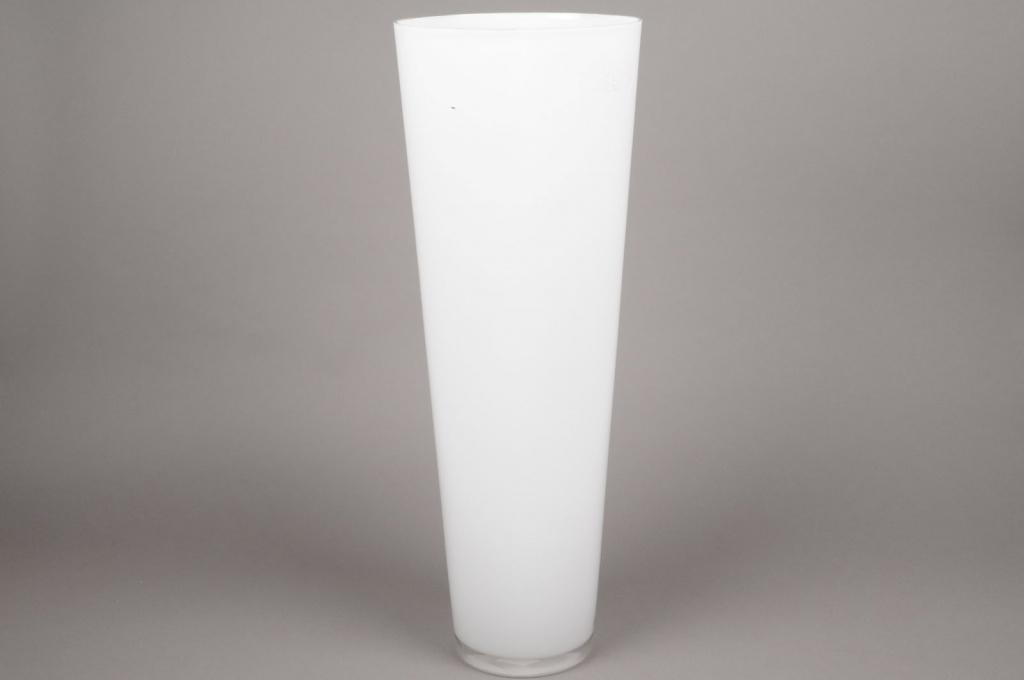 A018I0 Vase en verre conique blanc D22cm H70cm