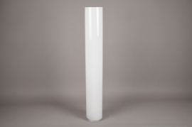 A133I0 Glass cylindrical vase white D15cm H100cm