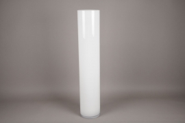 A127I0 Glass cylindrical vase white D20cm H100cm