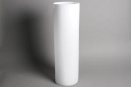 A011IZ Vase en verre cylindre blanc D20cm H65cm