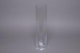Vase en verre cylindre D10 H40cm
